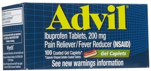 Advil Gel Caplets 200mg Pain Reliever, Fever Reducer, 100 Count Bottle