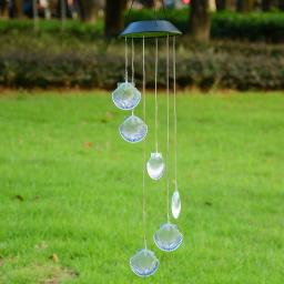 Yescom Solar LED Color Changing Shell Wind Chime Mobile Home Garden Yard Christmas Xmas Valentines Gift Decor