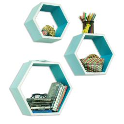 Ellie  Love Hexagon Leather Wall Shelf / Bookshelf / Floating Shelf (Set of 3)