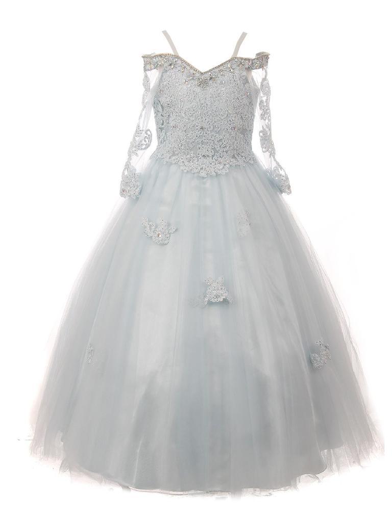 Little Girls Blue Off Shoulder Long Sleeve Rhinestone  Pageant Dress 2-6