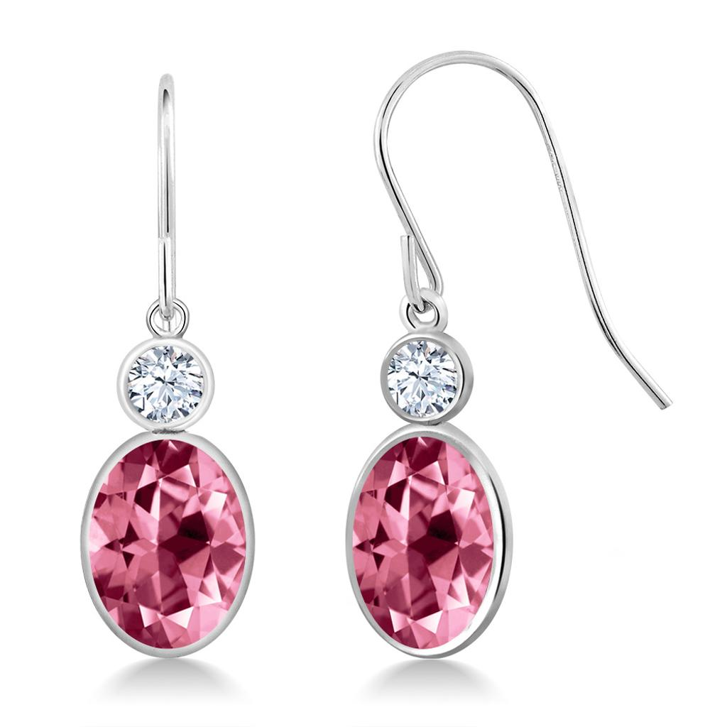 14K White Gold Earrings Created Sapphire Set with Pink Topaz from Swarovski
