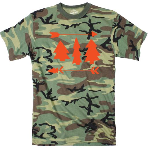 Camo Pines And Arrows Tshirt Cute Outdoors Camping Camouflage Tee