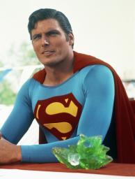 Christopher Reeve sitting in Superman Costume Photo Print GLP454584
