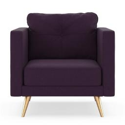 NyeKoncept 50200659 Vance Armchair Cross Weave - Aubergine with Brass Finish