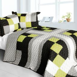 Sunshine City 3PC Vermicelli-Quilted Patchwork Quilt Set (Full/Queen Size)