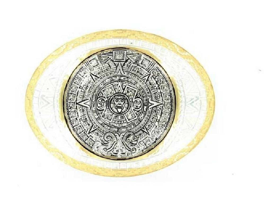 Crumrine Western Belt Buckle Aztec Calendar Antique Silver Gold C01617