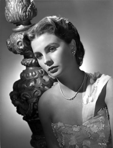 Jean Simmons Portrait in White Single Strap Embroidered Silk Dress and Pearl Necklace Photo Print