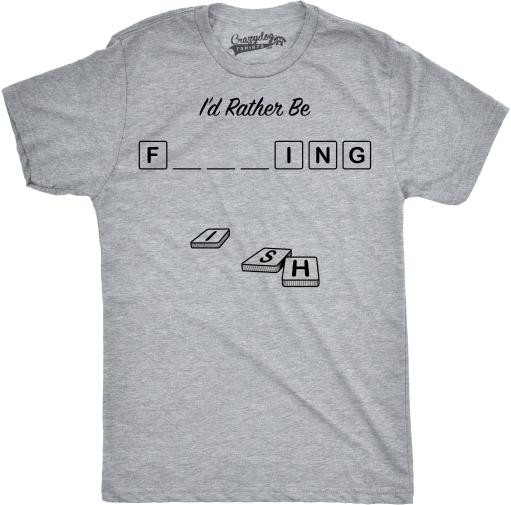 Mens Rather Be Fishing Funny Fill In The Blanks Gaming Nerdy Sporting T shirt