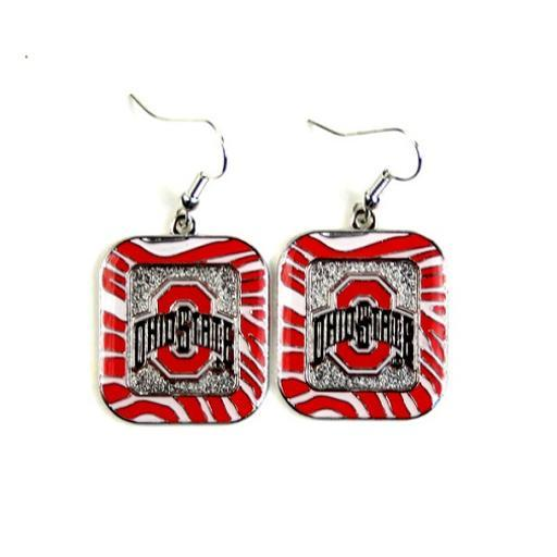 Ohio State Buckeyes NCAA Zebra Style Dangle Earrings XWFFCVEQXADJXOST