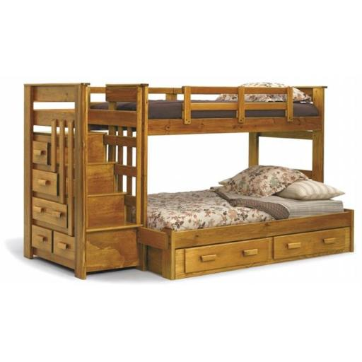 Chelsea Home Furniture 36500-S Twin Over Full Bunk Bed with Stairway Chest & Underbed Storage - 62 x 100 x 56 in.