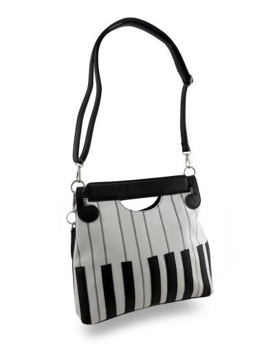 Black and White Piano Key Purse w/Music Note Keyring/Removable Strap