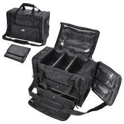AW 1200D Oxford Pro Black Soft Makeup Train Bag Case Pockets  Artist Cosmetic Organizer Box with Strap Travel Outdoor