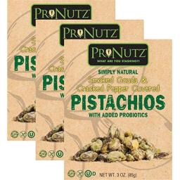Pronutz prn 343 3 oz Smoked Gouda & Cracked Pepper Covered Pistachios with Probiotics - Pack of 3