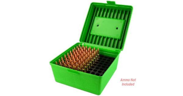 Mtm mtm deluxe ammo box 100 round handle 22-250 to 458 win green thumbnail