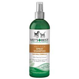 Vet'S Best 3165810347 Green Vet'S Best Pet Anti-Flea Easy Spray Shampoo 16Oz Green 2.38 X 2.38 X 8.75