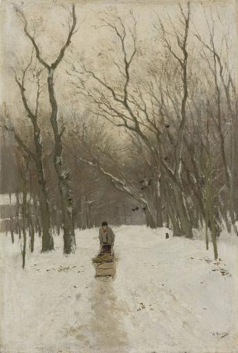 Winter In The Scheveningse Bushes, Anton Mauve, 1870-88. Dutch Painting, Oil On Canvas. Man Pushes A Sled Loaded With Firewood On A Snowy Forest.