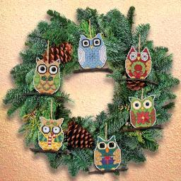 "Owl Ornaments Counted Cross Stitch Kit-3""X3"" 14 Count Set Of 6 21-1453"