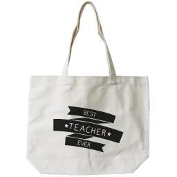 "Women's Canvas Bag- Natural Canvas Tote Bag by - ""Best Teacher Ever"""