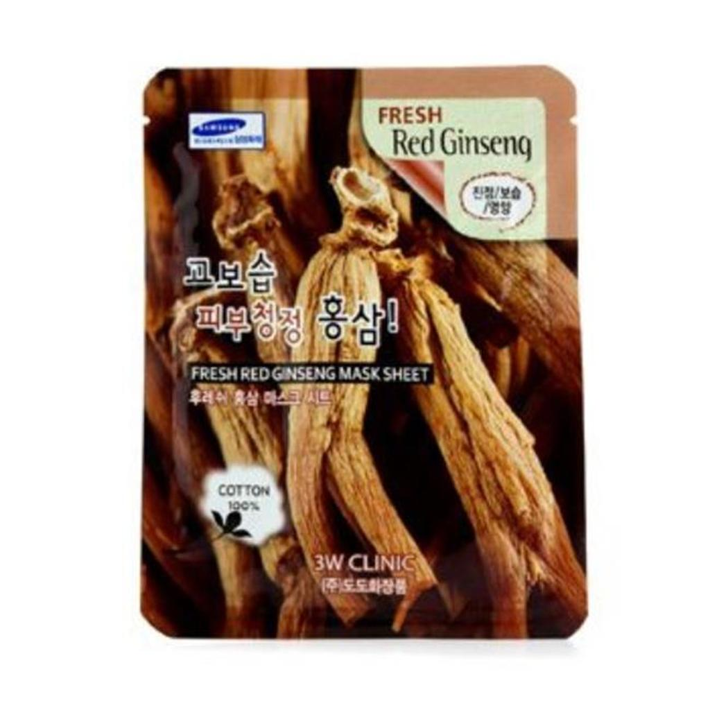 3W Clinic 180533 Mask Sheet - Fresh Red Ginseng, 10 Piece