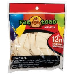 "Fat Toad Balloons Round 12"" 12/pkg-ivory"
