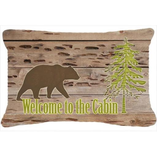 Carolines Treasures SB3081PW1216 Welcome To The Cabin Indoor & Outdoor Fabric Decorative Pillow