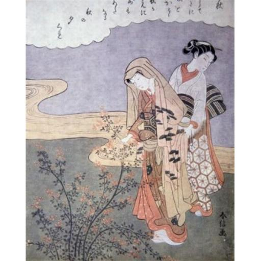 Posterazzi SAL900612 Two Women in a Garden 18th C. Japanese Art Poster Print - 18 x 24 in.