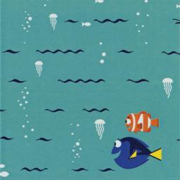 """Disney Finding Dory-camelot Design 44/45"""" Cotton 15yd D/r-swimming - Turquoise"""