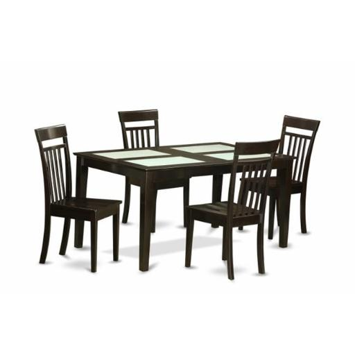 East West Furniture CAP5G-CAP-W 5 Piece Dining Table Set- Glass Top Table and 4 Kitchen Dining Chairs