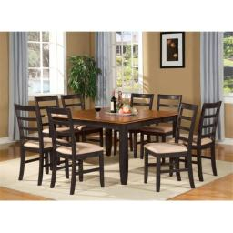 East West Furniture PARF5-BLK-C 5-Piece Parfait Square Table with 18 in. Butterfly Leaf & 4 Microfiber upholstered Seat Chairs in Black & Cherry Finis