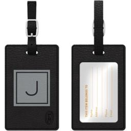 Centon Electronics 67842 Otm Monogram Black Leather Bag Tag, Inversed Graphite J