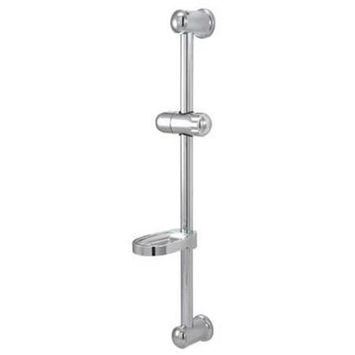 24 in. Glide Bar with Acrylic Soap Dish and Hand Held Shower Holder Chrome