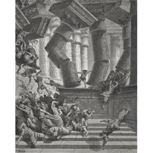 Engraving From The The Dore Bible Illustrating Judges XVI 28 To 30 Death of Samson by Gustave Dore 1832-1883 French Arti Poster Print, Large - 26 x 34