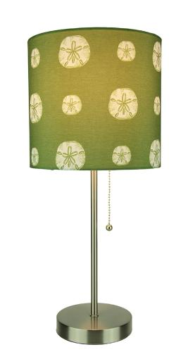 Brushed Nickel Finish Coastal Table Lamp With Green Sand Dollar Shade