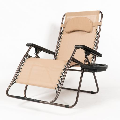 Belleze Extra Large Oversized Zero Gravity Chair Recliner Super Durable Reclining Patio Chair With Cup Holder, Beige