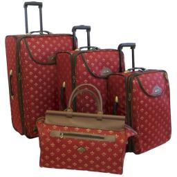 American Flyer 86400-4 Mred 4 - Piece Lyon Luggage Set, Metalic Red