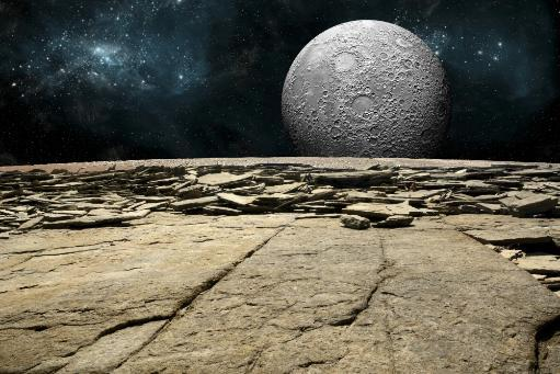 An artist's depiction of the view from a rocky and barren alien world. A large cratered moon rises over the airless environment. Poster Print