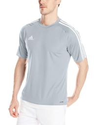 7ae83e06c Adidas Men s Estro 15 Soccer Jersey T-Shirt Light Gray White