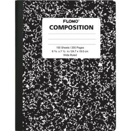 Black Marble Composition Books - 100 Sheets Wide Ruled