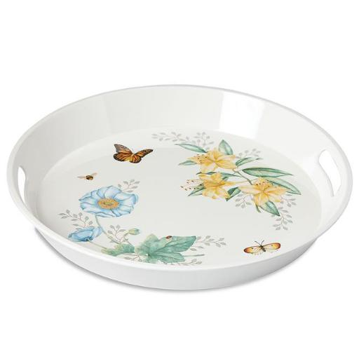 Lenox 865999 Butterfly Meadow Melamine Dinnerware Large Round Tray, 15