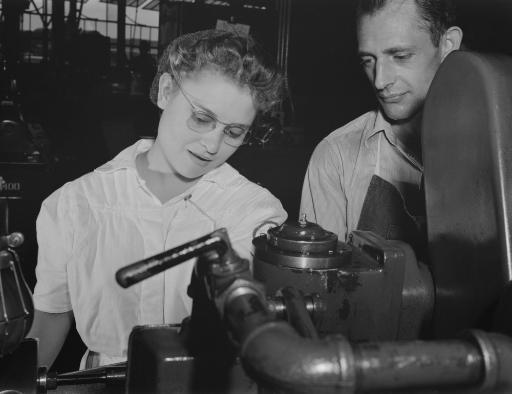 A young woman of the National Youth Adminstration learning how to use an electric lathe, 1942. Poster Print by Stocktrek Images