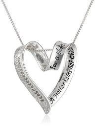 """Sterling Silver Diamond""""A Mother Holds Her Child's Hand"""" Heart Pendant (1/10 cttw, I-J Color, I2-I3 Clarity)"""