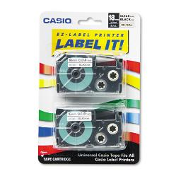 """Tape Cassettes For Kl Label Makers 0.75"""" X 26 Ft Black On Clear 2 Per Pack 