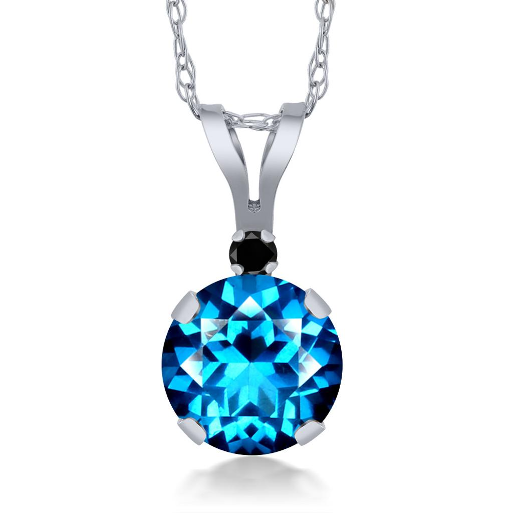 14K White Gold Diamond Pendant Set with Kashmir Blue Topaz from Swarovski