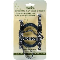 Figure H Fashion Adjustable Cat Harness And 6' Leash Combo-Skulls