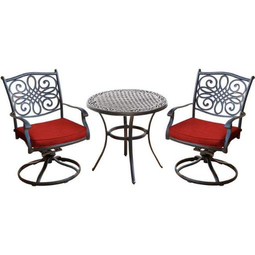 Hanover TRADDN3PCSW-RED 32 in. Traditions Bistro Set with a Cast-Top Table, Red - 3-Piece