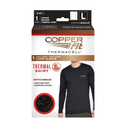 Copper Fit Thermacell L Long Sleeve Men's Round Neck Black Copper Infused Thermal Shirt - Case Of: 1;
