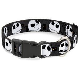 "Plastic Clip Collar - Nightmare Before Christmas Jack Expressions Gray - Pet Collar 1.0"" Large"
