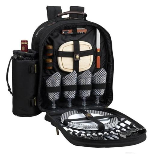 Picnic at Ascot 081-BLK Classic Picnic Backpack for 4 in Black with Gingham Napkins