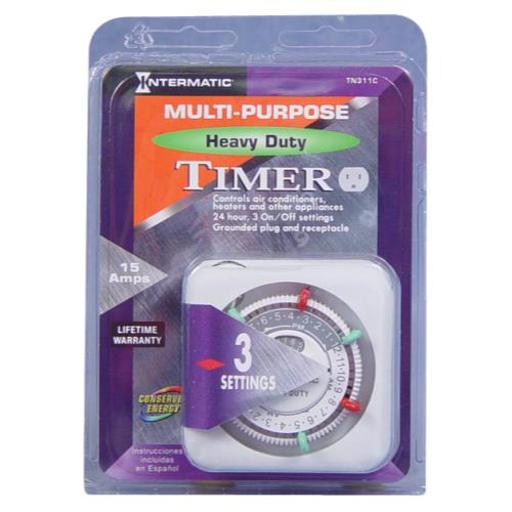 Intermatic Heavy-Duty Plug-In Timers Intermatic TN311C Heavy Duty Timer 120 Volt