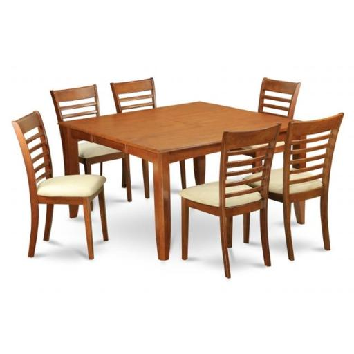 East West Furniture PFML9-SBR-C 9 Piece Formal Dining Room Set-Dinette Table With Leaf and 8 Kitchen Chairs